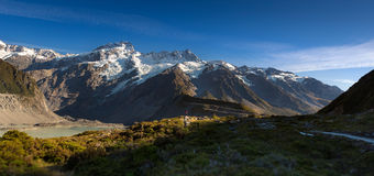 Traveller in the mountain in Mt. Cook Stock Image