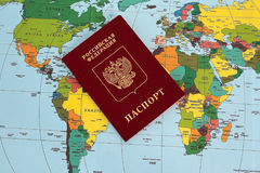 Traveller& x27;s accessories on world map background, top view. Travel planning concept royalty free stock image
