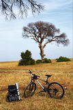 Traveller's backpack and bicycle Royalty Free Stock Photo
