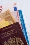 ' Traveller's cheque ': soldi, passaporto, biglietto Immagine Stock
