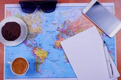 Traveller`s working place royalty free stock photography