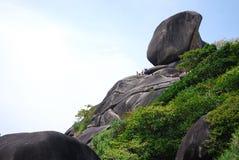 Traveller at sailing granite viewpoint Stock Photography
