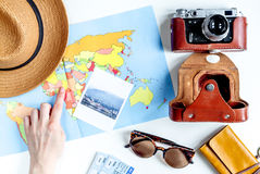 Traveller set with camera and map on white background top view Royalty Free Stock Image