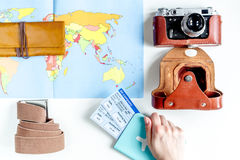 Traveller set with camera and map on white background top view Royalty Free Stock Images
