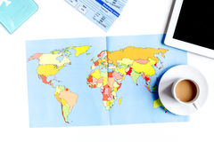 Traveller set with coffee and map on white background top view Stock Photography