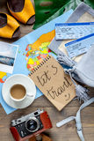 Traveller set with coffee and tickets on wooden background top view Royalty Free Stock Photography
