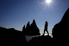 Traveller silhouette at Reynisfjara, Iceland Royalty Free Stock Photography