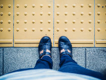 Traveller step on train Royalty Free Stock Photos