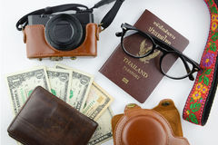 Traveller stuffs brwon leather tone Royalty Free Stock Photography