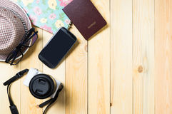 Traveller stuffs preparing for vacation with background copy space. Royalty Free Stock Photography