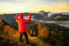 Traveller Success For Treking To Top Of Mountain To See A Sunrise For Bromo Vocano Stock Images