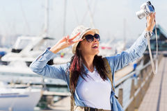Traveller taking selfie Royalty Free Stock Photos