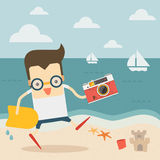 Traveller with vintage camera on the beach. Vector Stock Photos