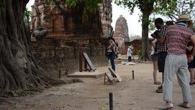 Traveller visit at Wat Mahathat stock video footage