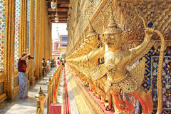 Traveller in Wat Phra Kaew Stock Images