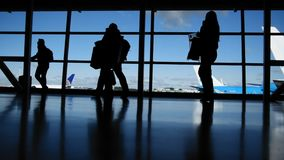 Travellers in airport walking to departures in front of window, silhouette. Blue colors stock video footage