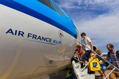 Travellers boarding an Air France KLM Cityhopper Stock Photos
