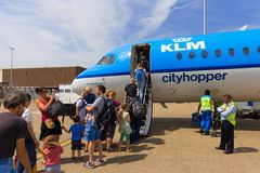 Travellers boarding an Air France KLM Cityhopper Royalty Free Stock Photography