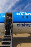 Travellers boarding an Air France KLM Cityhopper Stock Photo