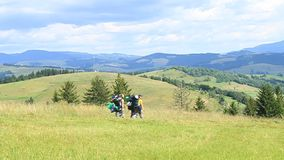 Travellers. In Carpathian Mountains stock footage