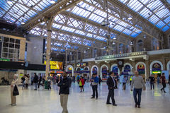 Travellers at Charing Cross railway station. London Royalty Free Stock Photography