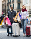 Travellers enjoying shopping tour. Couple 55-65 years old  enjoying shopping tour during voyage Royalty Free Stock Images