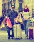 Travellers enjoying shopping tour. Couple 55-65 years old  enjoying shopping tour during voyage Stock Photo