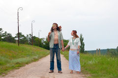 Travellers - happy hippie in love Stock Images