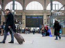 Travellers in Gare du Nord Stock Images