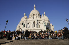 Travellers  in Sacred Heart Church of paris Stock Images