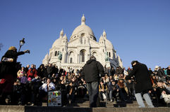 Travellers  in Sacred Heart Church of paris Stock Image