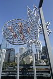 The Travellers sculptures by artist Nadim Karam on the Sandridge Bridge over the Yarra River in Melbourne Stock Photos