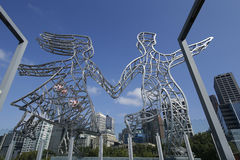 The Travellers sculptures by artist Nadim Karam on the Sandridge Bridge over the Yarra River in Melbourne Stock Image
