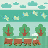 Travellers seamless pattern. With train and plane Stock Photo