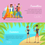 Travellers and Summer Banners. People on Vacation. Travellers and summer poster banner. People on vacation in Thailand with mobile devices. Couple with luggage Royalty Free Stock Images