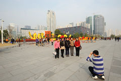 Travellers take pictures in guangzhou Stock Images