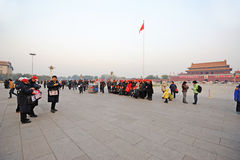 Travellers take pictures in Tian an men square Royalty Free Stock Photography
