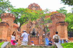 Travellers are visiting the Ponagar temple in Nha Trang stock image