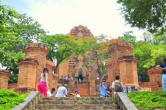 Travellers are visiting the Ponagar temple in Nha Trang stock photography