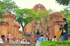 Travellers are visiting the Ponagar temple in Nha Trang royalty free stock photo