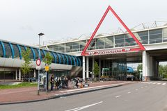 Travellers are waiting at bus stop near a Dutch railway station Stock Photo