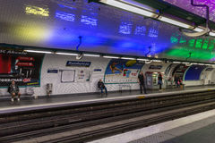 Travellers waiting at subway station Rambuteau  in Paris, France Royalty Free Stock Images