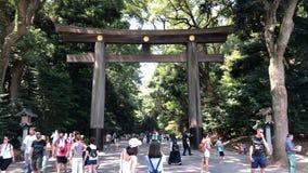 Travellers walk through torii shrine gate at Meiji Jingu Shrine temple, Tokyo Japan.  stock video