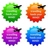 Travelling. Colorful icons making clear travelling feeds your mind Stock Photo