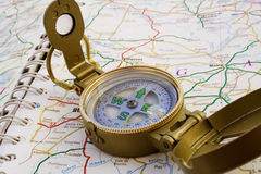 Travelling. Close up compass for travelling activity stock images