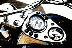 Travelling. Motorcycle detail speed gauge Stock Photo