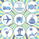Travelling and accommodation icons Stock Image