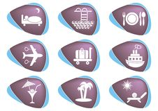 Travelling and accommodation icons Royalty Free Stock Photo