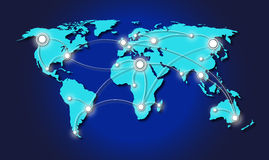 Travelling across the world. Map of world with lines of travelling across the world Stock Photo