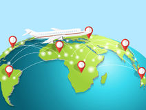 Travelling by airplane around the globe. Stock Photography